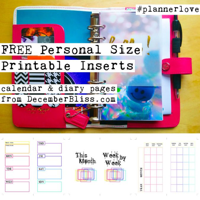 Free Rainbow-Themed Personal Size Printable Planner Calendar And