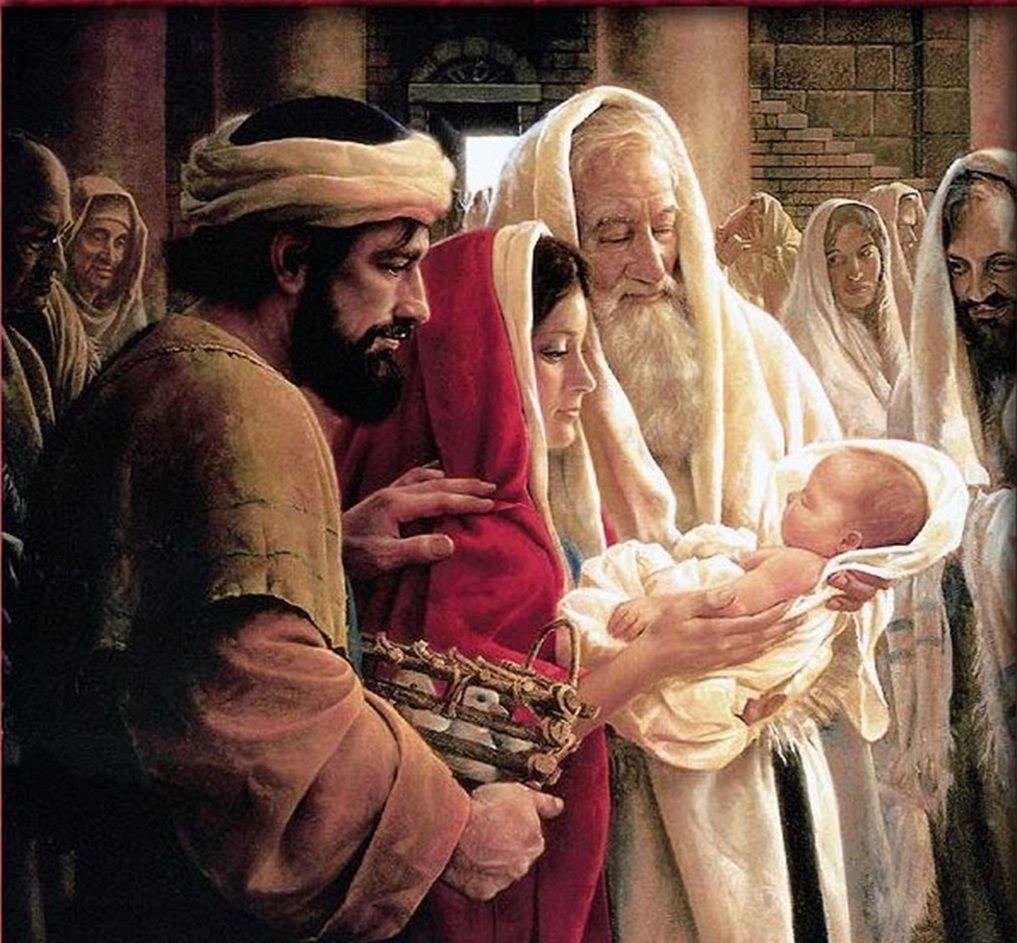 Cuando entraban sus padres con el niño Jesús, Simeón lo tomó en sus ...