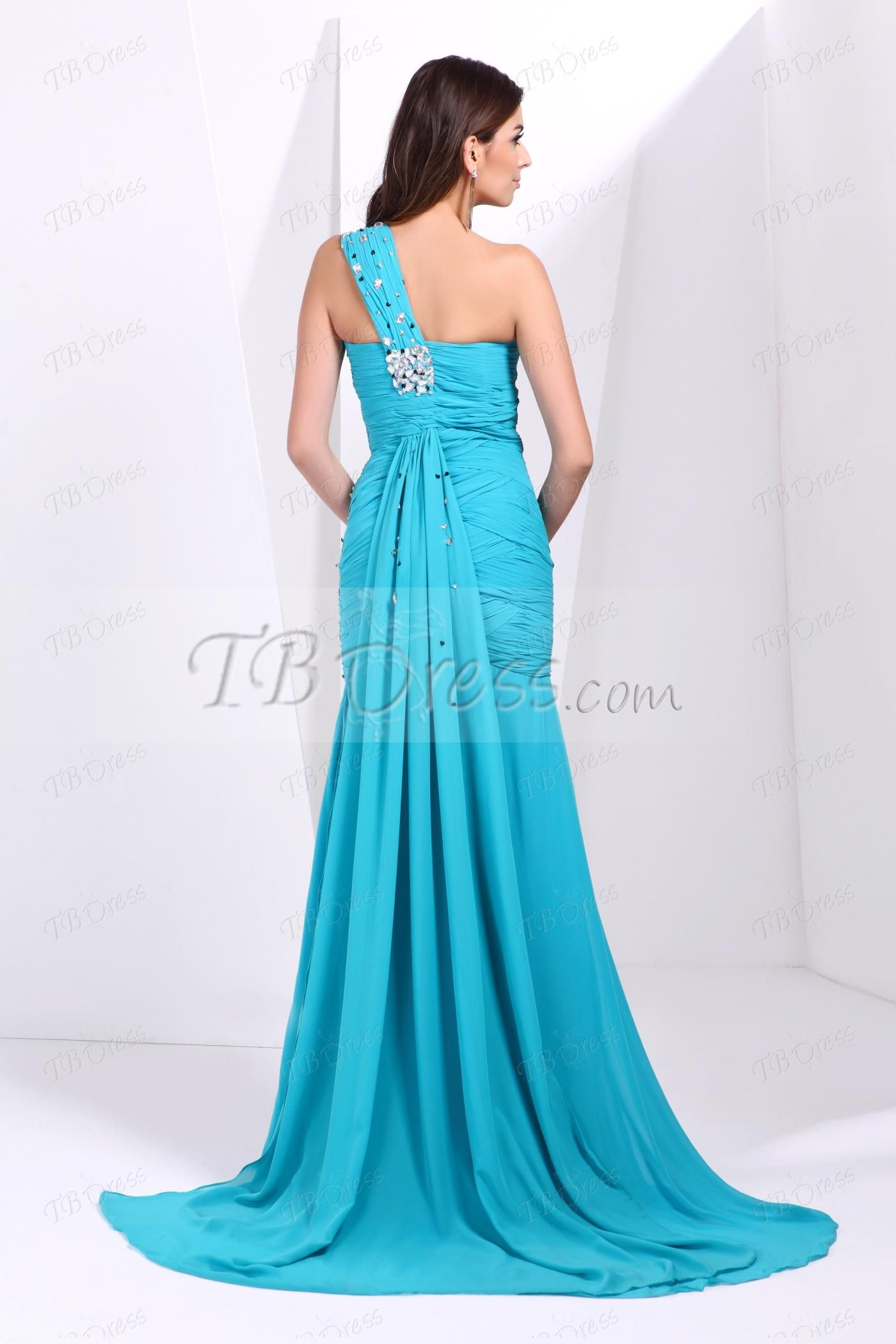 Oneshoulder beading ruched talineus long prom dress long prom
