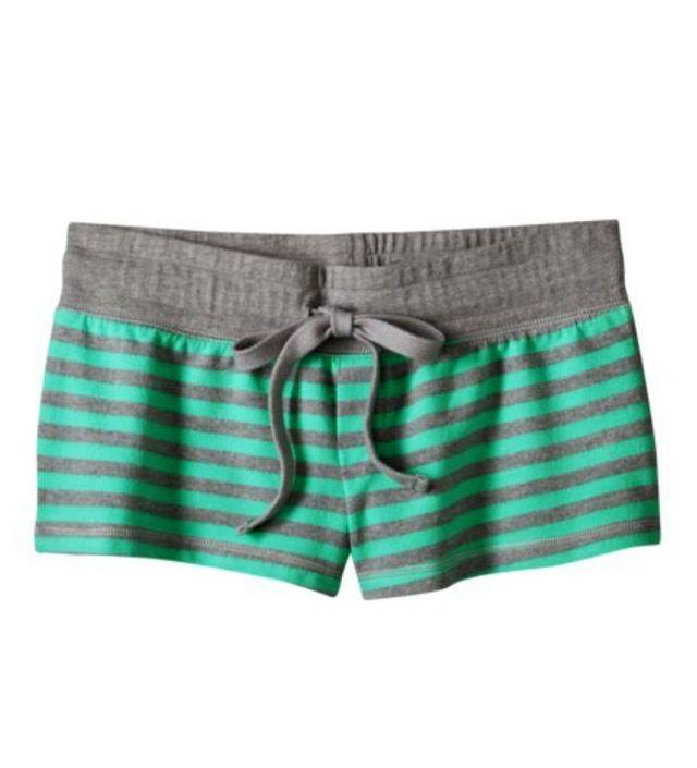 Teal striped pajama shorts