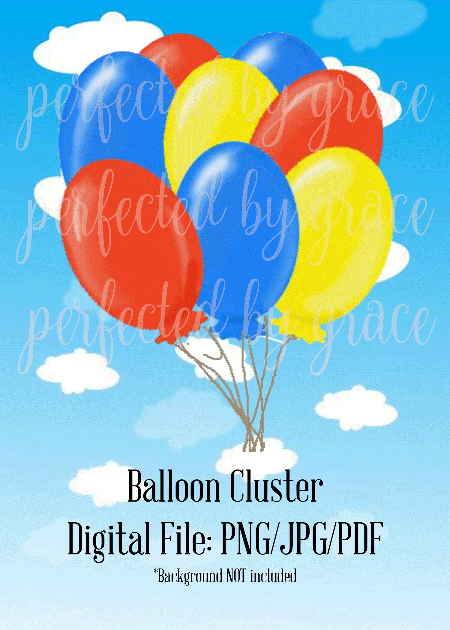 Balloon Cluster Clip Art PNG JPG and PDF Etsy Balloon clusters, Clip art, Balloons