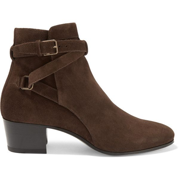 Saint Laurent Suede ankle boots (2,935 ILS) ❤ liked on Polyvore featuring shoes, boots, ankle booties, saint laurent, ankle boots, booties, chocolate, stacked heel booties, strappy bootie and ankle strap booties