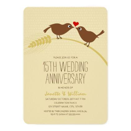 Cute Country Love Birds 15th Wedding Anniversary Card ...