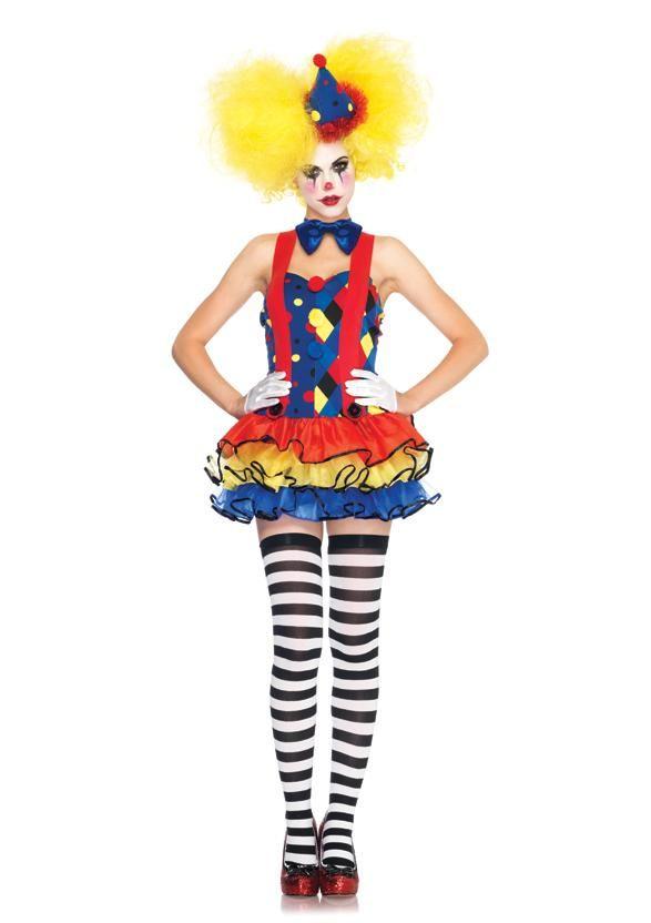 sexy womens halloween costumes giggles the clown tutu suspender dress and hat ebay - Girl Clown Halloween Costumes