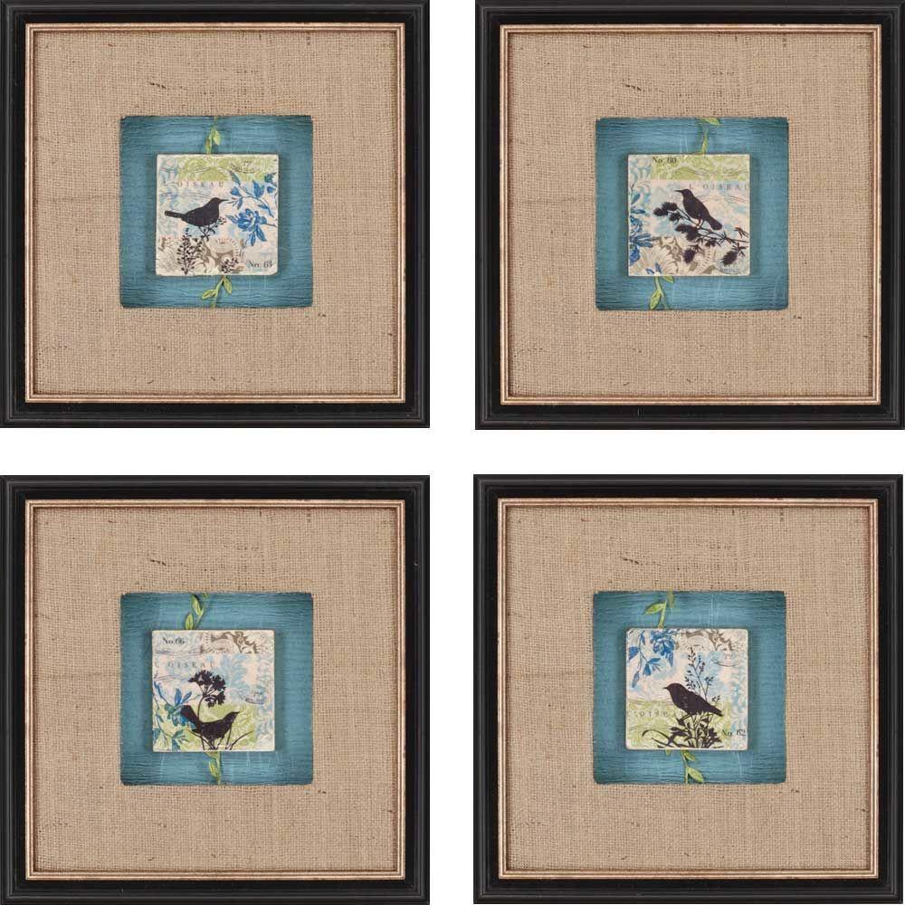 Black bird tiles by scaletta piece framed graphic art set art