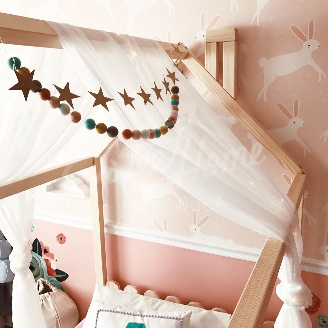 Pale pink and mint vintage dreamy girls playroom, twin size house ...