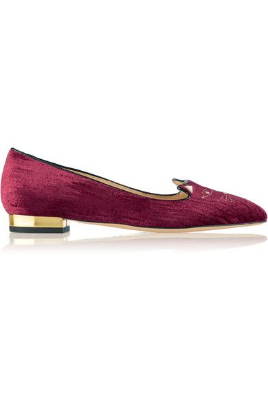 Charlotte Olympia - Mid Century Kitty Embroidered Velvet Point-toe Flats -  Burgundy - IT37.5 9524e514cdeb