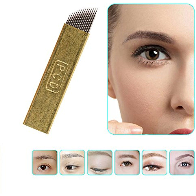 Videopuptm 50pcs Copper Clad Eyebrow Permanent Makeup Needle