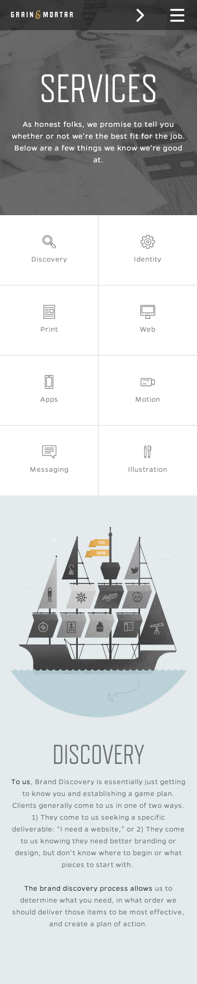 Mobile First Design from Grain & Mortar | PatternTap | ZURB Library