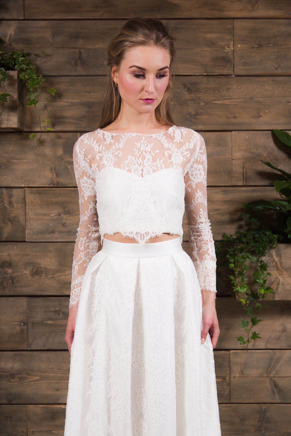 E&W Couture | Effy Bridal Lace Seperates | Lace Skirt | Long Sleeve ...