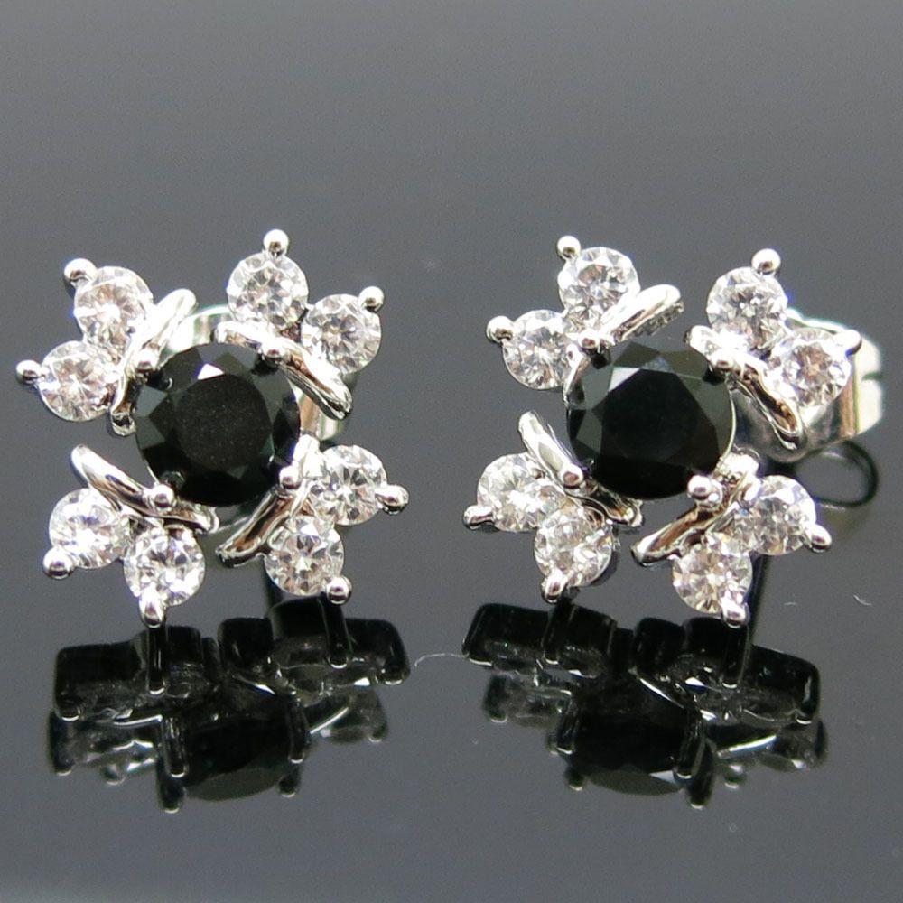 Rose Shape Soild Gold Filled Gf Black Topaz Simulated Diamond Stud Earring Ebay