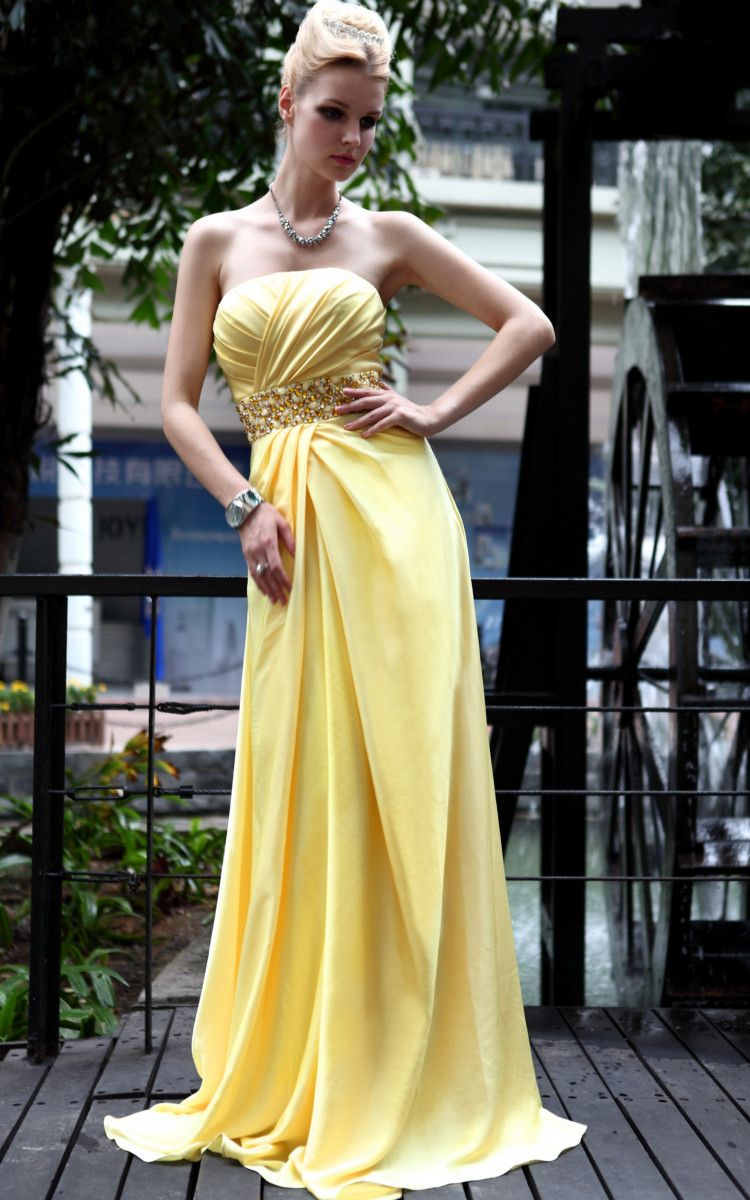 Bridesmaid Ball Yellow Cocktail Steetheart Party Beading Long Evening Dress Gown