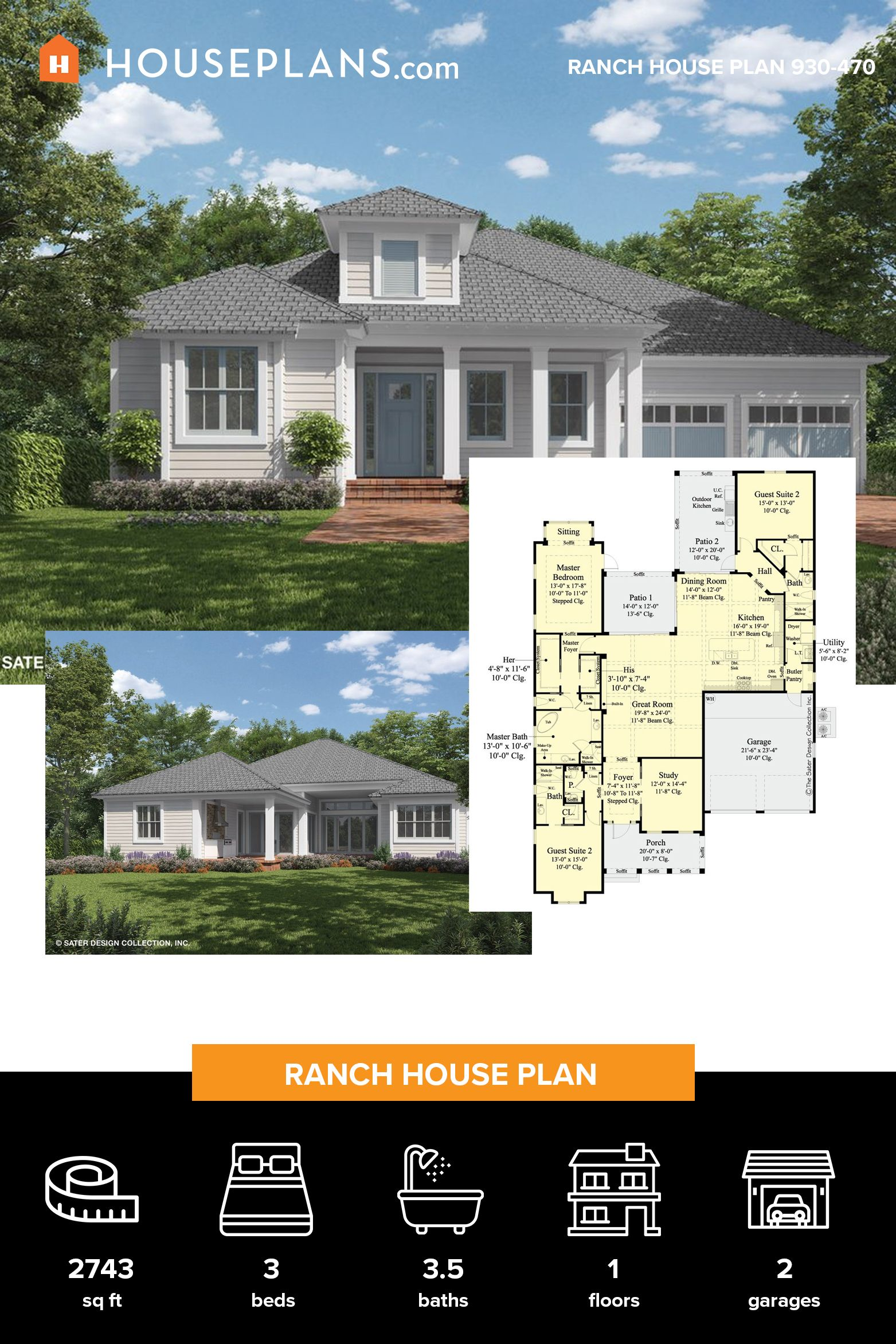 Ranch Style House Plan 3 Beds 3 5 Baths 2743 Sq Ft Plan 930 470 Ranch Style House Plans Ranch House Plans Ranch Style Homes