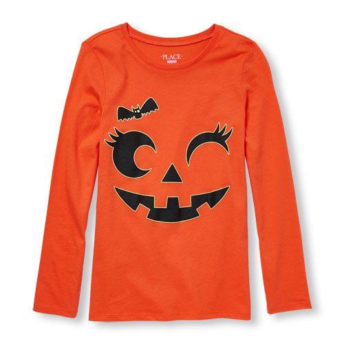 69a8ba07 Girls Long Sleeve Glow-In-The-Dark Pumpkin Graphic Tee - Orange T-Shirt -  The Children's Place