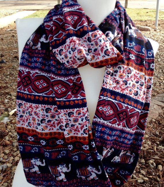 Boho Scarves Spring scarves SALE Elephant Scarf by Phatcatpatch