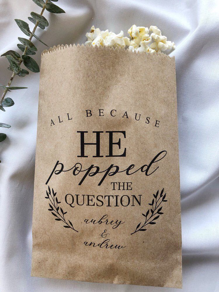 He Popped the Question Popcorn Bags, Wedding Favor Bag, Popcorn Buffet Bags, Personalized Wedding Favor Bags, Snack Bar Buffet Bags - #Bag #Bags #bär #Buffet #Favor #personalized #Popcorn #Popped #Question #Snack #Wedding #personalizedwedding