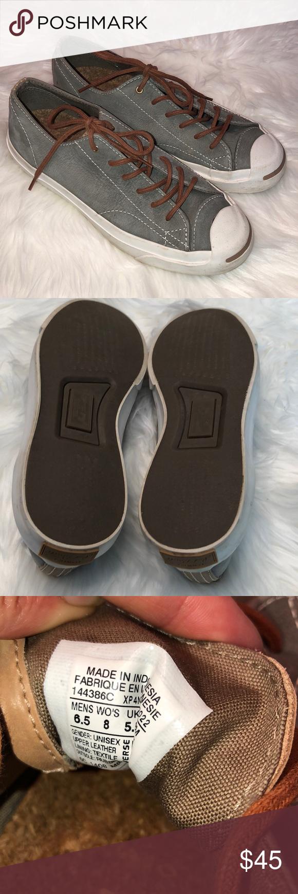 c767e55712c37c Converse Jack Purcell leather shoes EUC Unisex Men s 6.5 Women s 8 Grey  leather! Limited edition Converse Shoes Sneakers