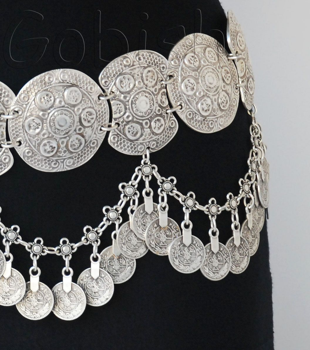 Silver plated metal belt coins big ethnic links chains Joaquin priscilla boho