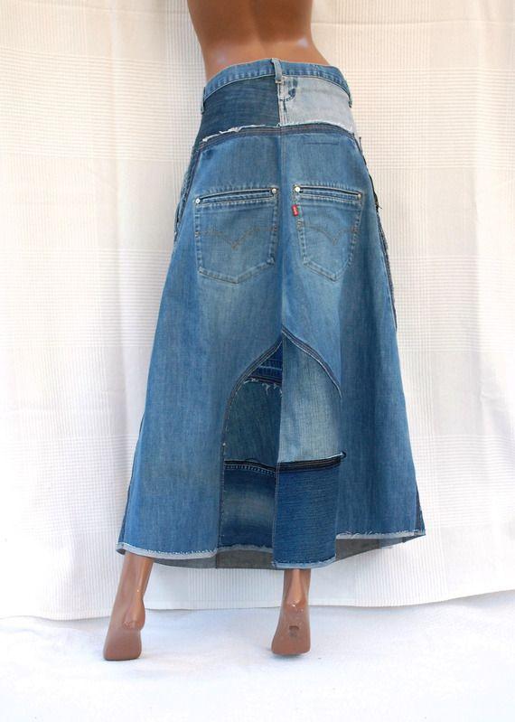 9b3afc09c40f4 Patchwork Blue Denim - Jupe longue en jean - réalisation sur mesure ...