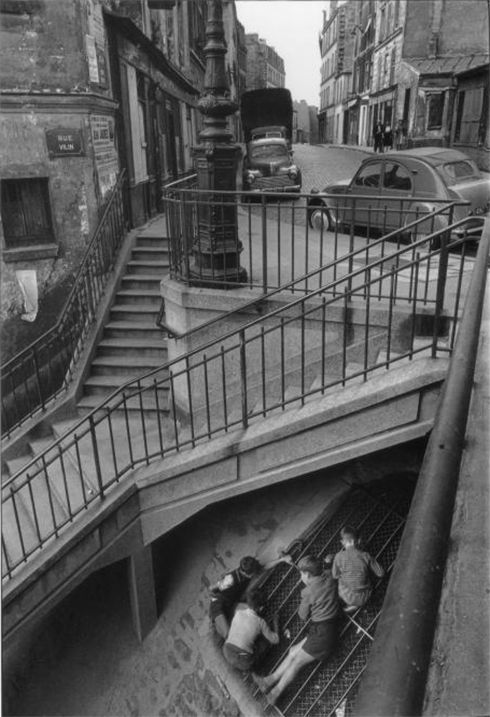 Escalier de la rue Vilin, Belleville, Paris, by Willy Ronis, 1959