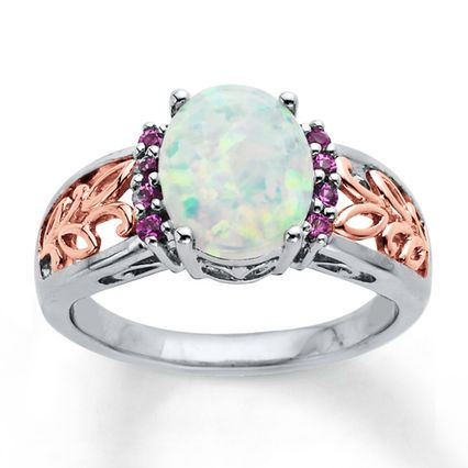 Jared LabCreated Opal Ring Sterling Silver14K Gold Jewelry