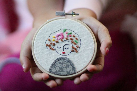 Embroidery Hoop Art, Embroidery Illustration of a Girl