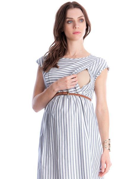 Cotton Stripe Maternity & Nursing Dress