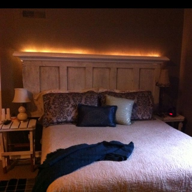 I M Loving The Headboard My Hubby Made From An Old Door Thanks Pinterest Headboard From Old Door Headboard With Lights Headboard Curtains