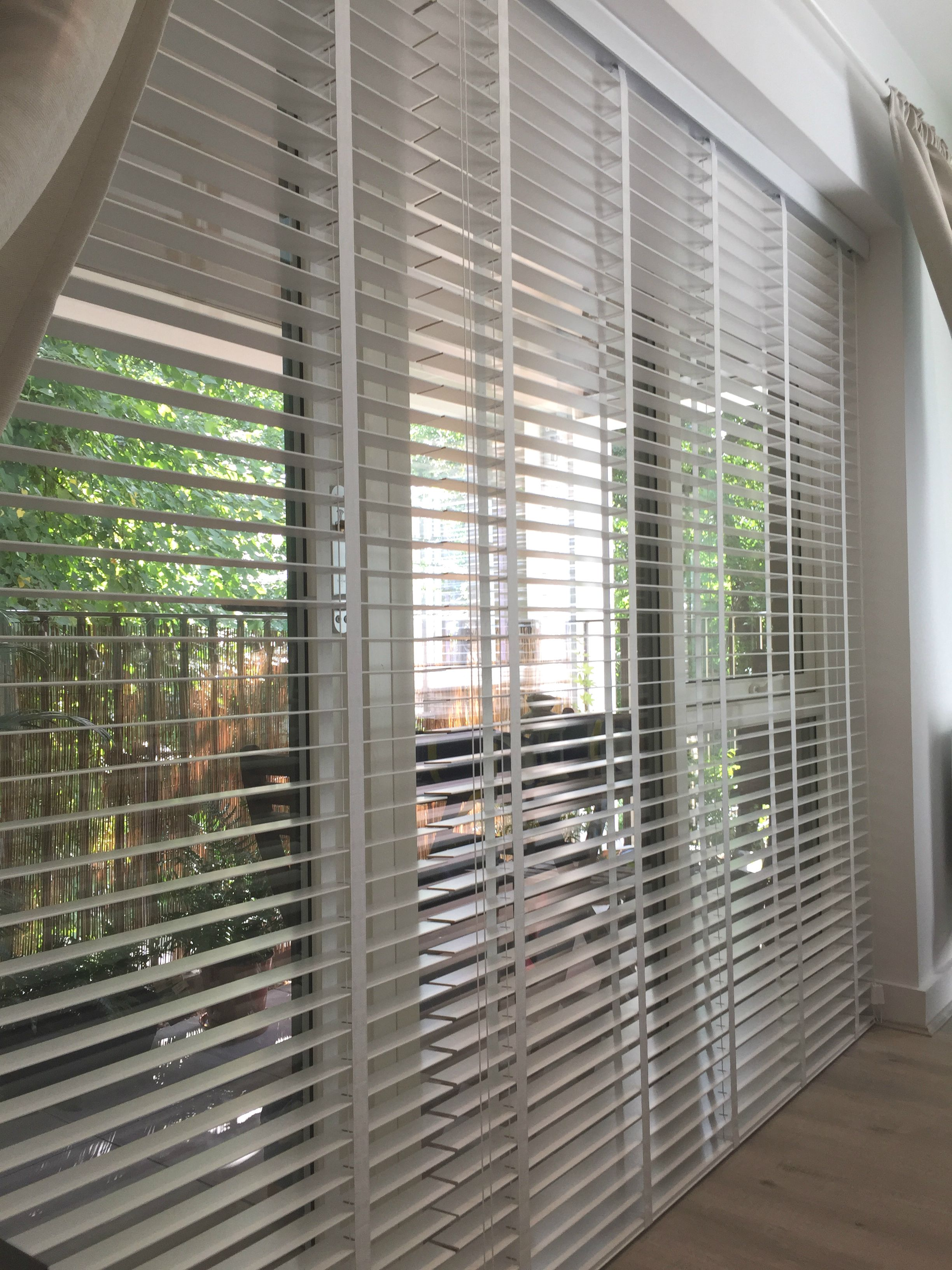 Wood Venetian Blinds With Existing Curtains - Pure White Blinds