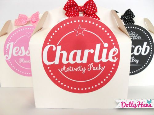 Personalised Childrens Activity Party Favour Gift Box Wedding Birthday Bag With Bow