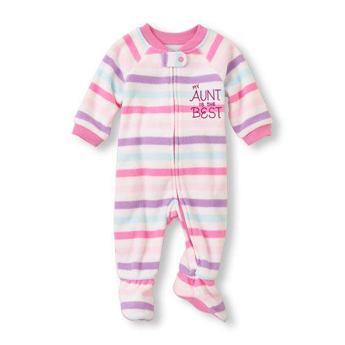 320053b997 Long Sleeve  My Aunt Is The Best  Striped Blanket Sleeper