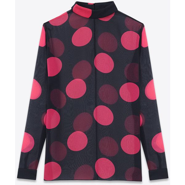 Saint Laurent Fold-Over Collar Blouse In Black And Fuchsia Large Polka... (63,220 INR) ❤ liked on Polyvore featuring tops, blouses, shirts, saint laurent, black, long-sleeve shirt, keyhole blouse, keyhole top, keyhole shirt and yves saint laurent shirt
