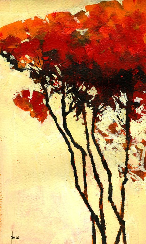 Semi Abstract Landscape Original Painting Five Trees Fall