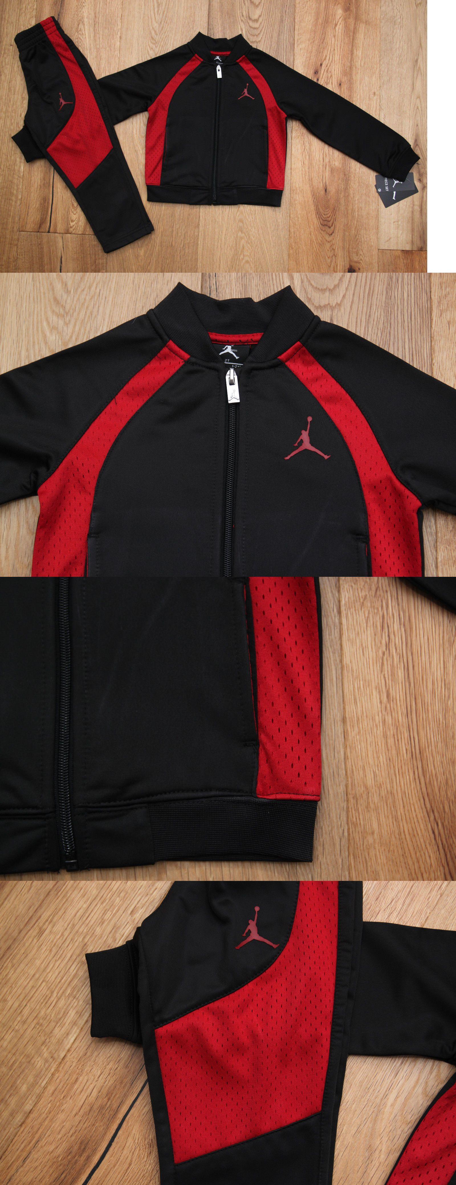 Air Jordan Enfant En Bas Âge De Sweatsuit Noir Et Rouge