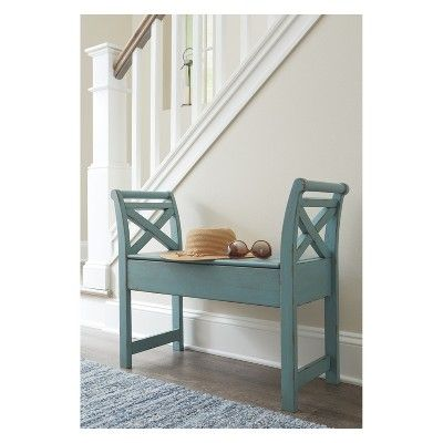 Heron Ridge Accent Bench Blue Signature Design By Ashley Living Room Bench Wood Storage Bench Furniture