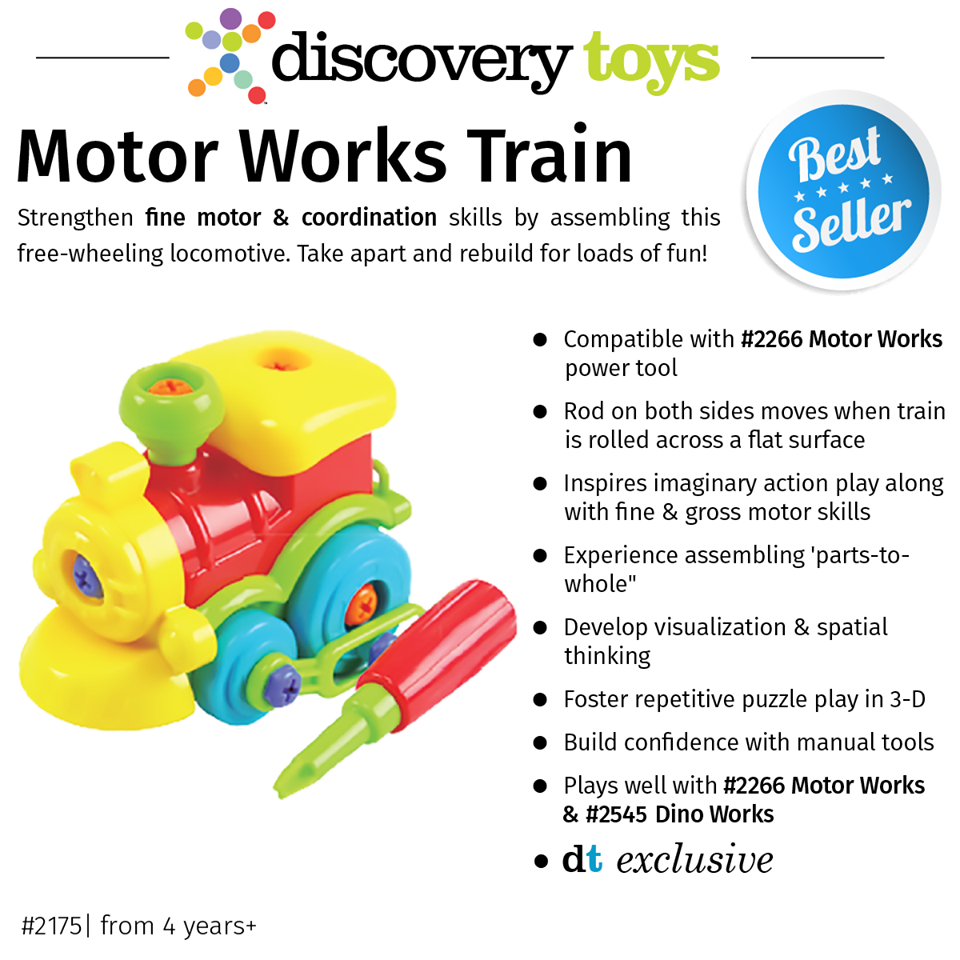 Discovery Toys Motor Works Take-Apart Train with Tool-Motor /& Thinking Skills