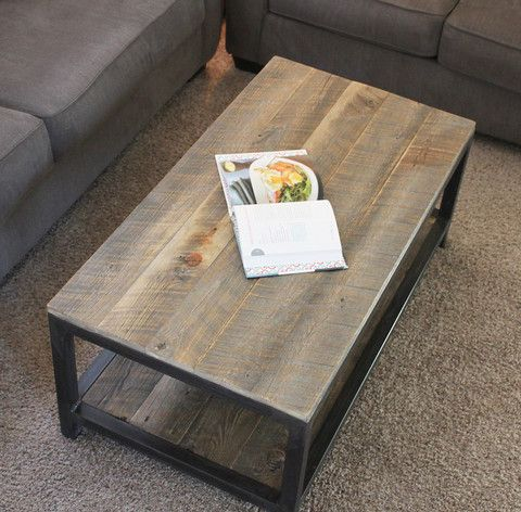 Reclaimed Wood And Metal Coffee Table Two Tier Coffee Table