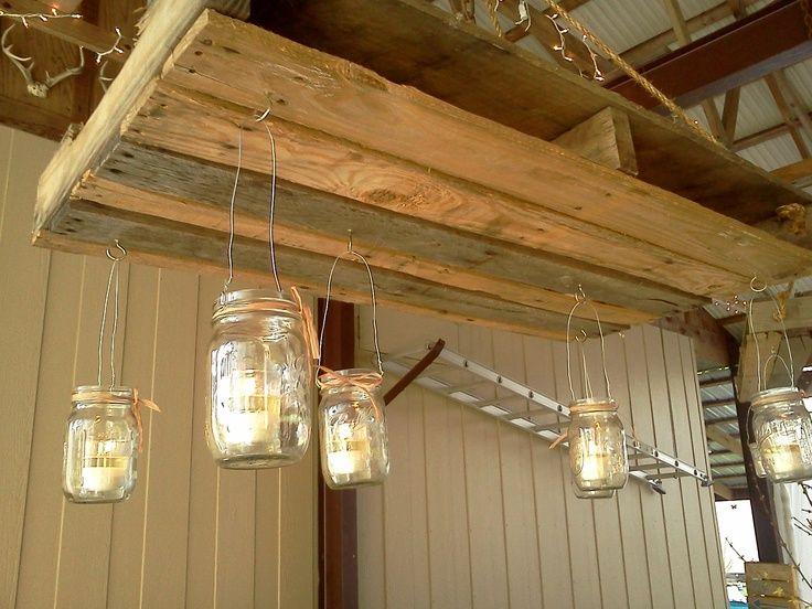 L mparas de techo de palets palets iluminaci n y la - Lamparas de techo hechas en casa ...