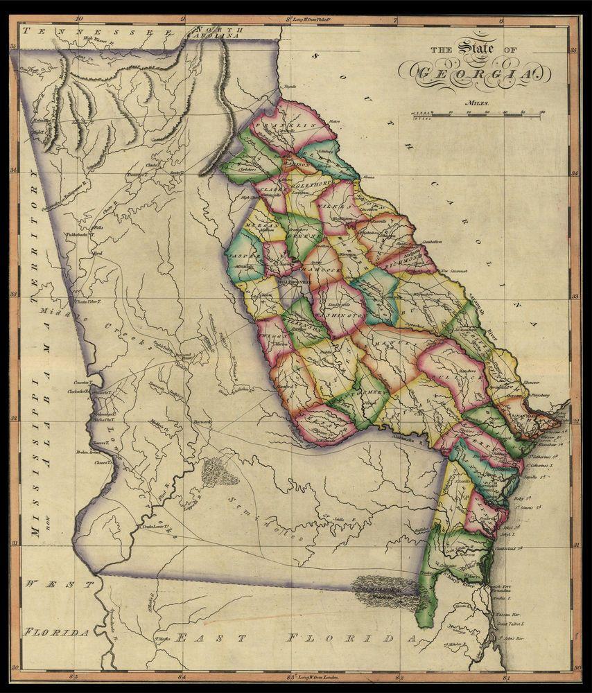 Map Of America Georgia.1817 Georgia State Map Quality U S History America 20 X16
