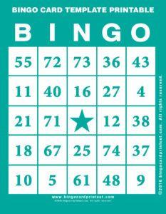 Bingo Card Template Printable Bingo Printable Free Bingo Cards