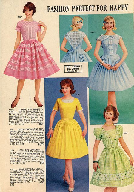 vintage fashion style color photo print ad fit flare day party dress pink yellow green blue 50s 60s