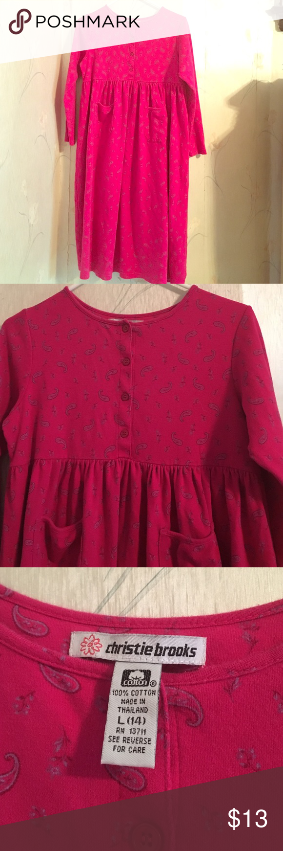 Girls cotton long sleeved maxi dress adorable hot pink with blue