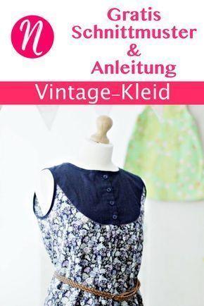 Vintage-Kleid für Damen Gr. 36 - 46 Freebook | Nähtalente