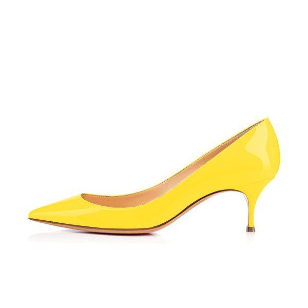 Yellow Kitten Heels Patent Leather Pointy Toe Pumps Office