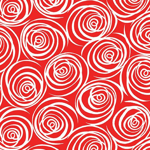Blender Fabric, That Ends Wool, Red with White Swirls 5856