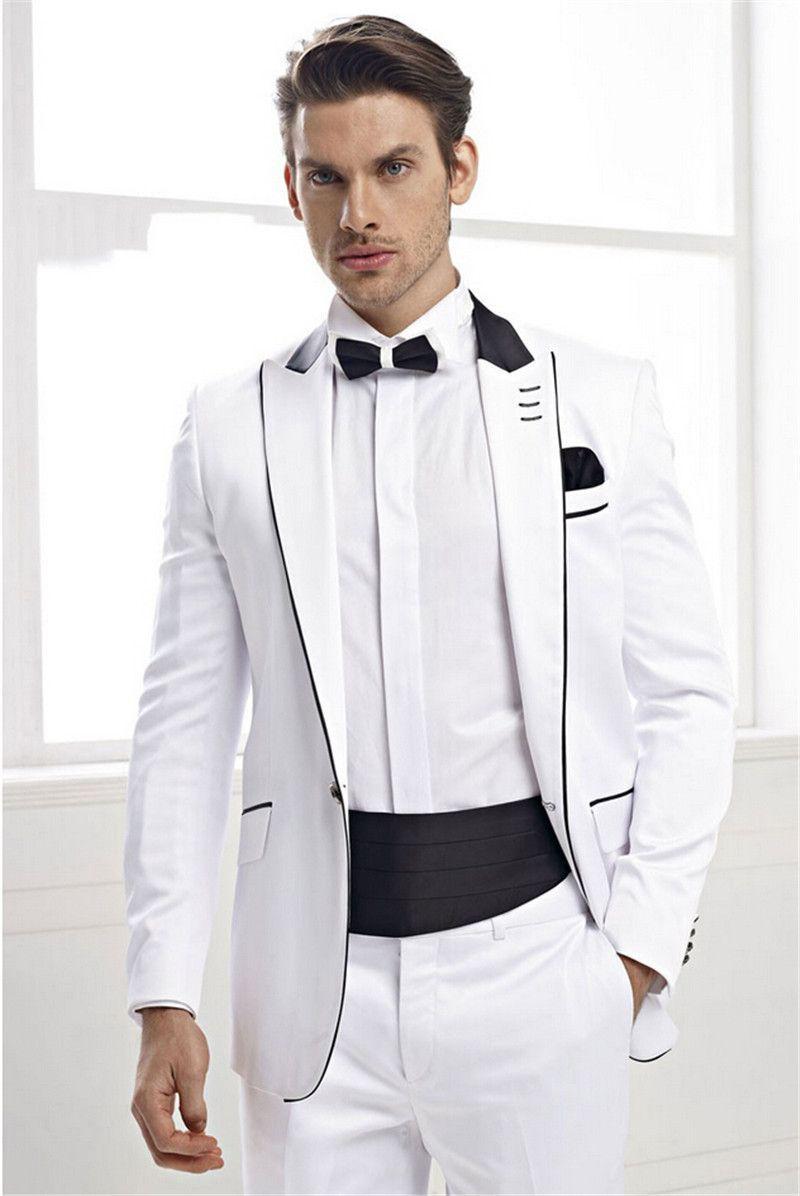 Click to Buy << Latest Coat Pant Designs White Trim Formal Wedding ...