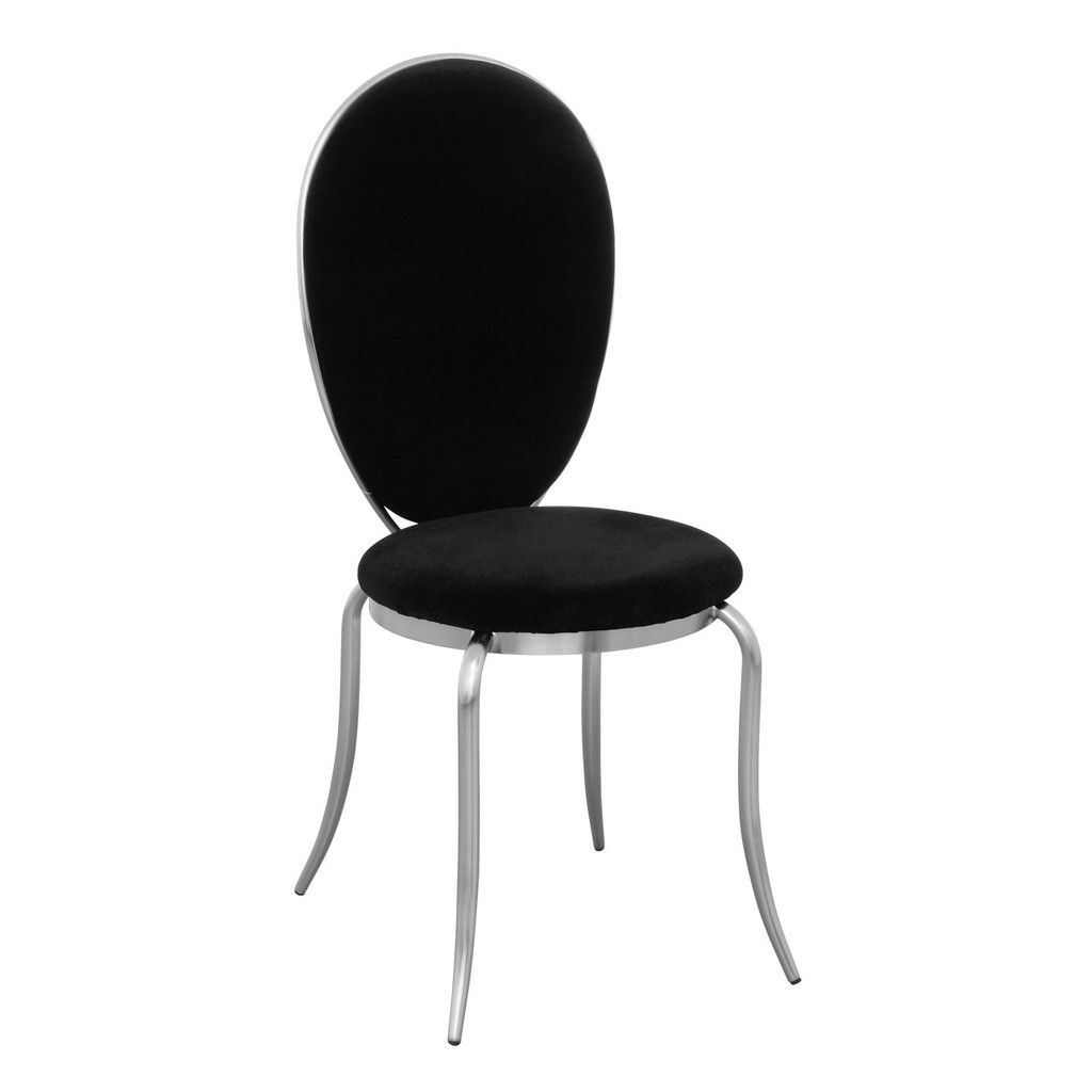 Chair, Black Velvet, Nickel Plated Legs