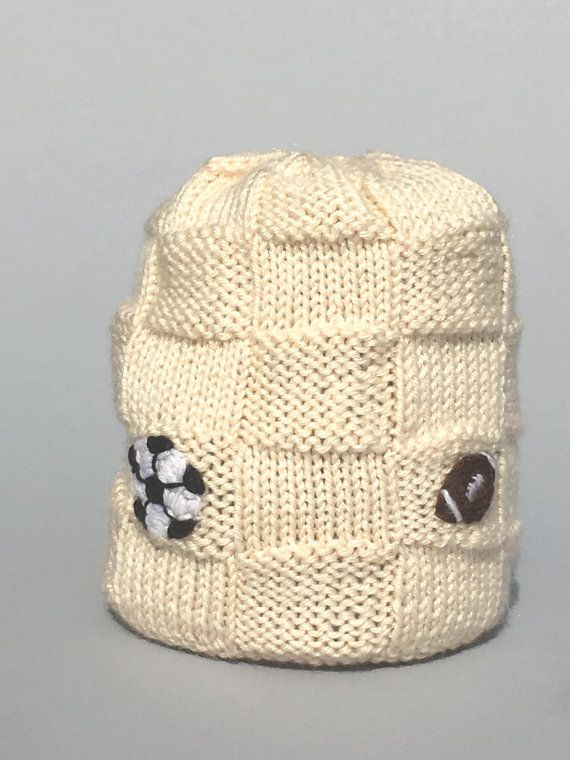 Baby Sports Knit Hat-Winter-White-Embroidered -Footbal-Soccer ...