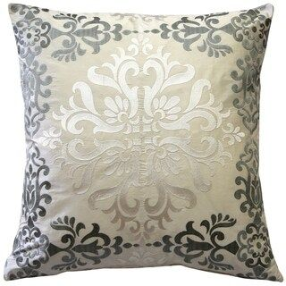 Pillow Decor - Sumatra Embroidered Silk Pillow 21x21 (Moonlight), Ivory(Synthetic Fiber, Damask)