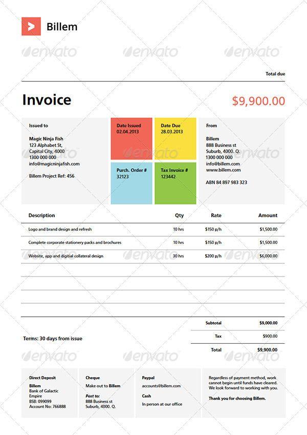 billem invoice template set